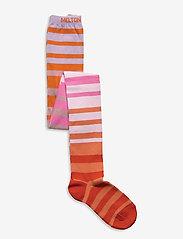 Melton - Multi stripe tights - rajstopy - rose - 0