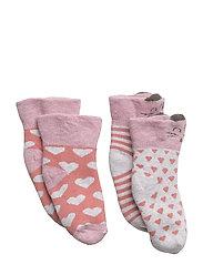 2-pk Baby Terry sock - Cat/Hearts - 519/DUSTYROSE