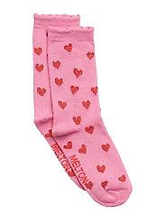 SOCK - Glitter Hearts w. Lurex All Sizes - DUSTY PINK