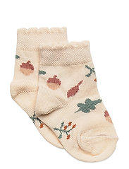 Baby Sock - Nuts & Leaves - OFF WHITE