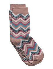 Sock - Wavy Stripes w/Silver Lurex - BURLWOOD