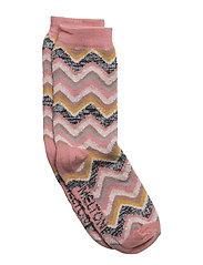 Sock - Wavy Stripes w/Silver Lurex - DUSTY ROSE