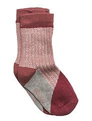 Sock - Colourblock w/Silver Lurex - DUSTY ROSE