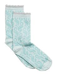 Sock - Leaf Pattern w/Lurex - STARLIGHT BLUE