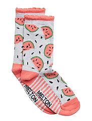 Sock - Melon w/Bubble Edge - PEARL GREY MELANGE