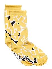 Sock - Big Flower - YOLK YELLOW