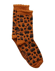 SOCK - Leo Pattern w. Bubble Edge - LEATHER BROWN