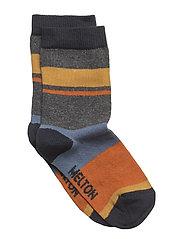 Sock - Block Stripes - DARK GREY MELANGE