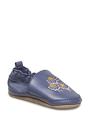 Leather shoe - Embroidery flowers - CROWN BLUE