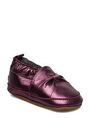 Leather Shoe - Bow - BORDEAUX