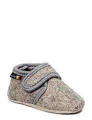 Wool soft shoe w/velcro - 135/LIGHT GREY MELANGE