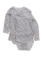 Numbers, 2-pk LS AOP Body - PEARL GREY MELANGE