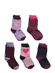 Numbers 5-pack Socks - GIRLS - 573/DARKPLUM