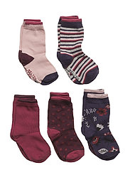 Numbers 5-pack Socks - GIRLS - RED PLUM