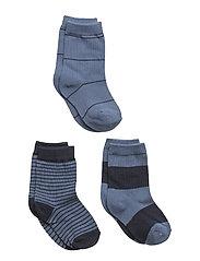 Numbers 3-pack Socks - STRIPES - BRILL BLUE