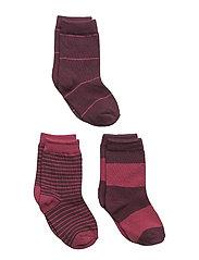 Numbers 3-pack Socks - STRIPES - FIG