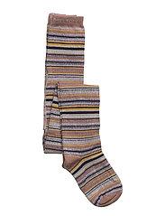 Tights - Stripes w/Lurex - BURLWOOD