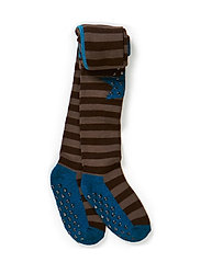 Tights - Wool Stripes & Star w/ABS - 292/DOVE BLUE