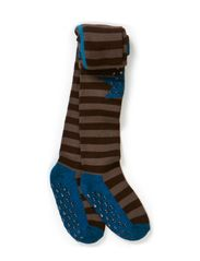 Tights - Wool Stripes & Star w/ABS - DOVE BLUE