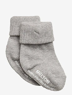 Baby sock, turn-up - strømper - 135/light grey melange