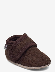 Wool slippers with velcro - hausschuhe - brown