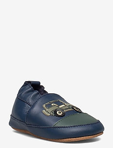 Leather slippers with jeep - buty - blue