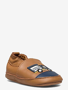Leather slippers Police truck - buty - brown