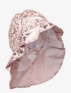 Hat w/neck & ties w/print - solhat - rose