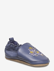Leather shoe - Embroidery flowers - slippers - crown blue