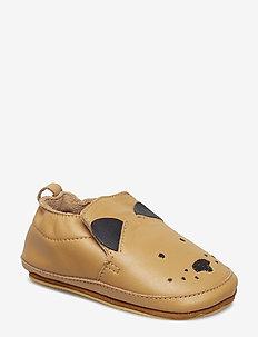 Luxury Leather Shoe - Dog - slippers - camel