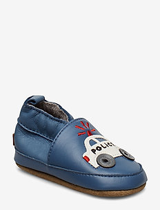 LEATHER Shoe - Police Car - slippers - china blue