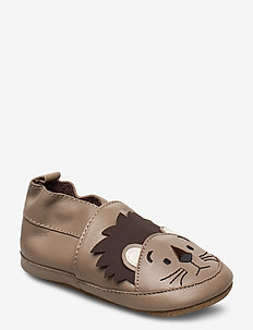 Leather Shoe - Lion - slippers - warm taupe
