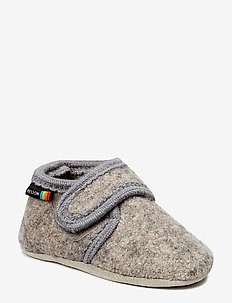 Wool soft shoe w/velcro - domowe - 135/light grey melange