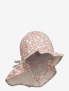 Hat w/neck & bow, Summer Girl - FADED ROSE