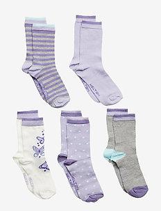 NUMBERS 5-pack Socks - Girls - CLOUD LILAC
