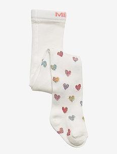 BABYTIGHTS - Glitter Heart w. Lurex - socks - white pearl