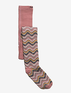 Tights - Wavy Stripes w/Lurex - DUSTY ROSE