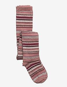 Tights - Stripes w/Lurex - DUSTY ROSE