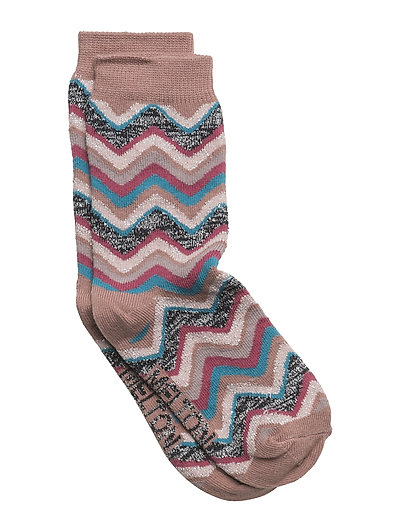 Sock - Wavy Stripes w/Silver Lurex - BURLWOOD