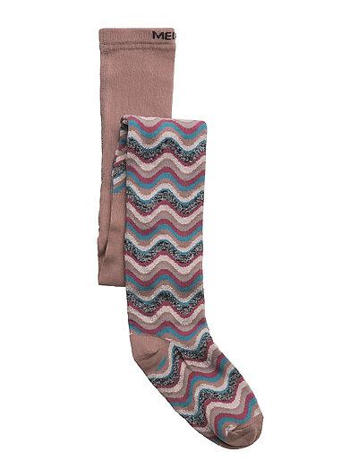 Tights - Wavy Stripes w/Lurex - BURLWOOD