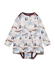 Dress LS AOP - TAWNY PORT