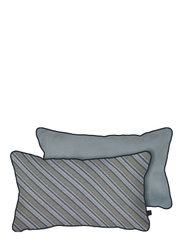 ATELIER cushion, with filling - DIAGONAL GREY - LIGHT BLUE