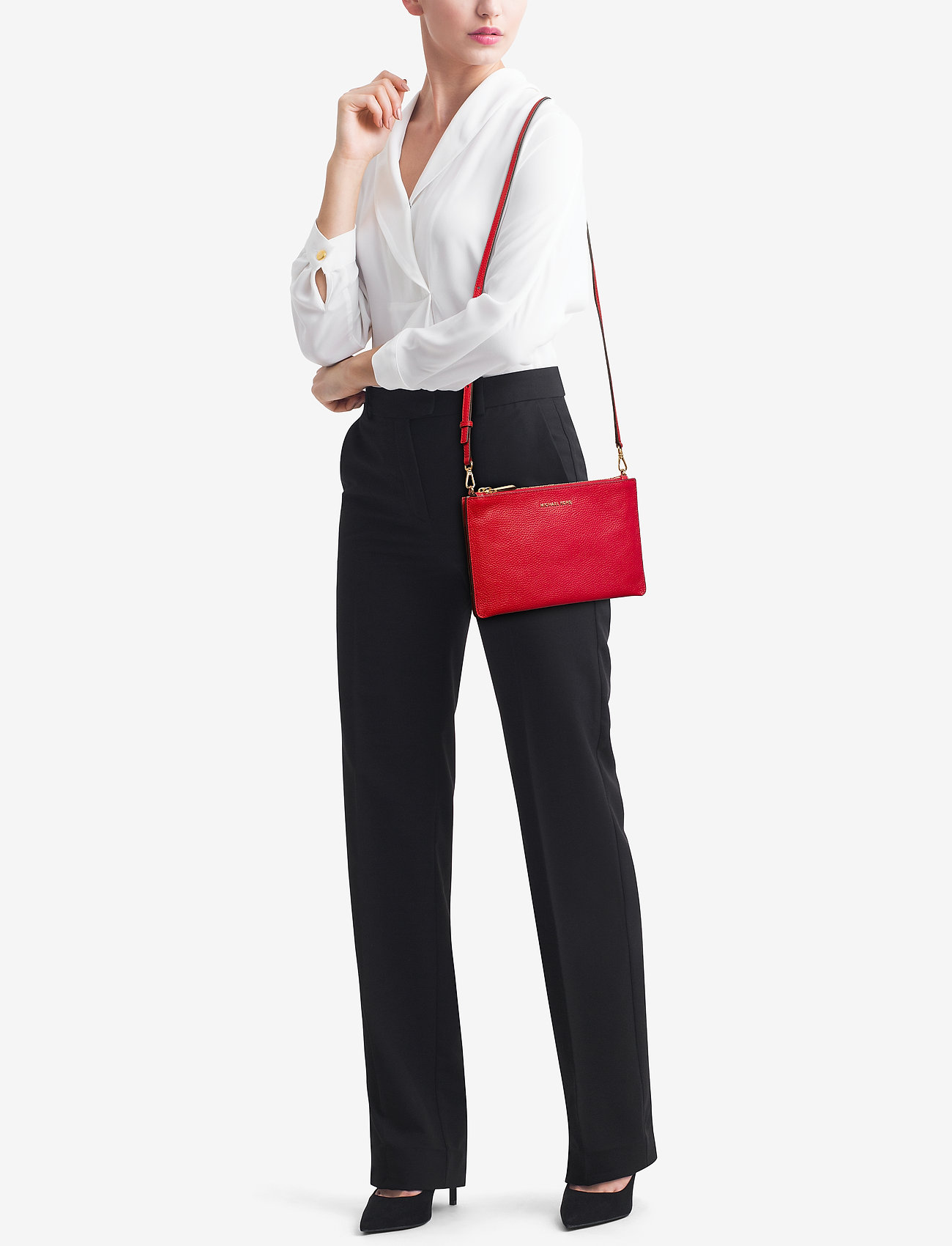Michael Kors Bags LG DBL POUCH XBODY - BRIGHT RED