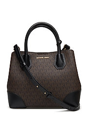 SM CNTR ZIP SATCHEL - BROWN/BLK