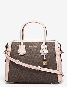 BELTED MD SATCHEL - handväskor - brn/sftpink