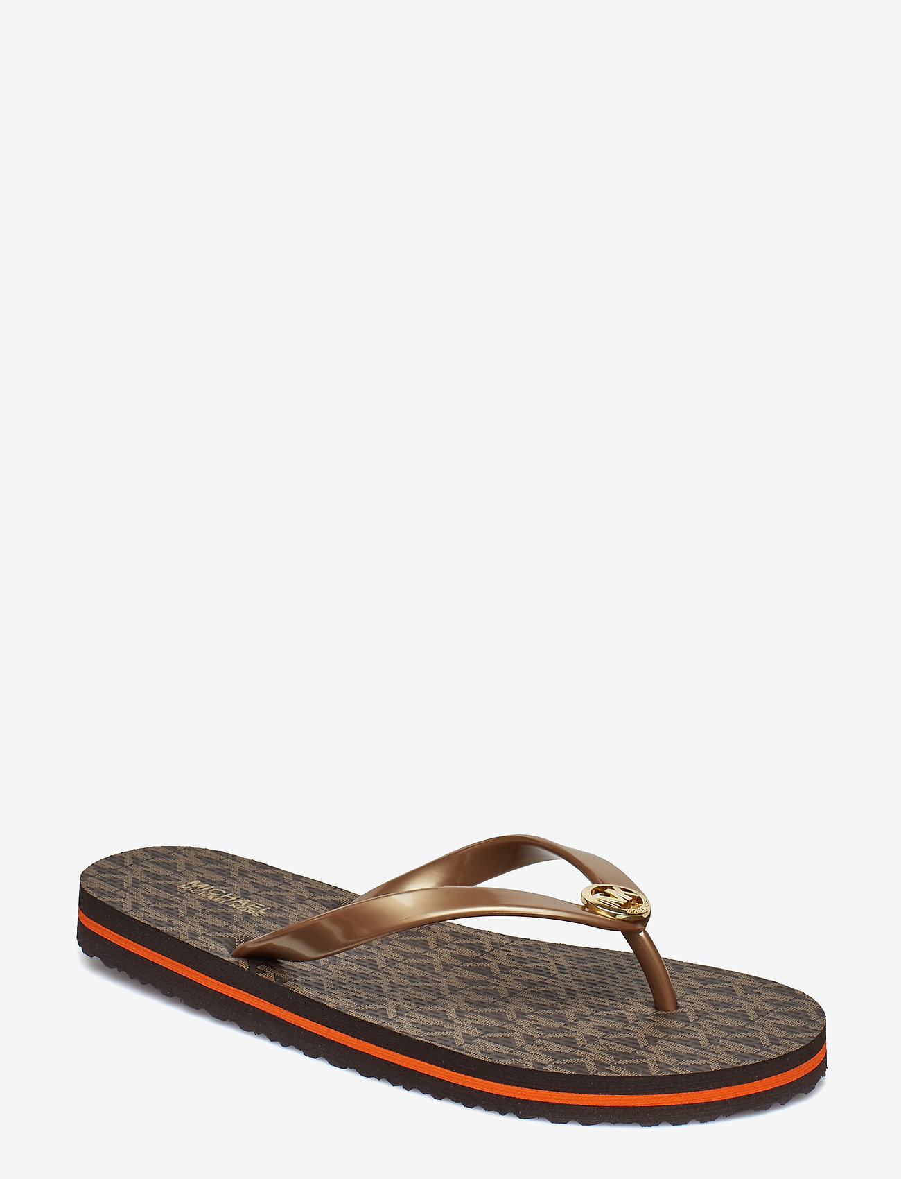Michael Kors - MK FLIP FLOP STRIPE EVA - teenslippers - brown - 0