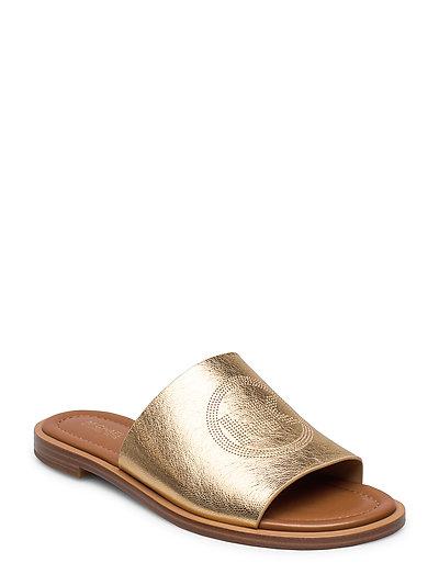 Leandra Slide Shoes Summer Shoes Flat Sandals Gold MICHAEL KORS SHOES