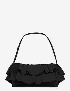 Iconic Solids Ruffle Bandeau Bikini Top - bikinitops - black