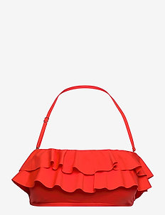 Iconic Solids Ruffle Bandeau Bikini Top - bikinitops - poppy