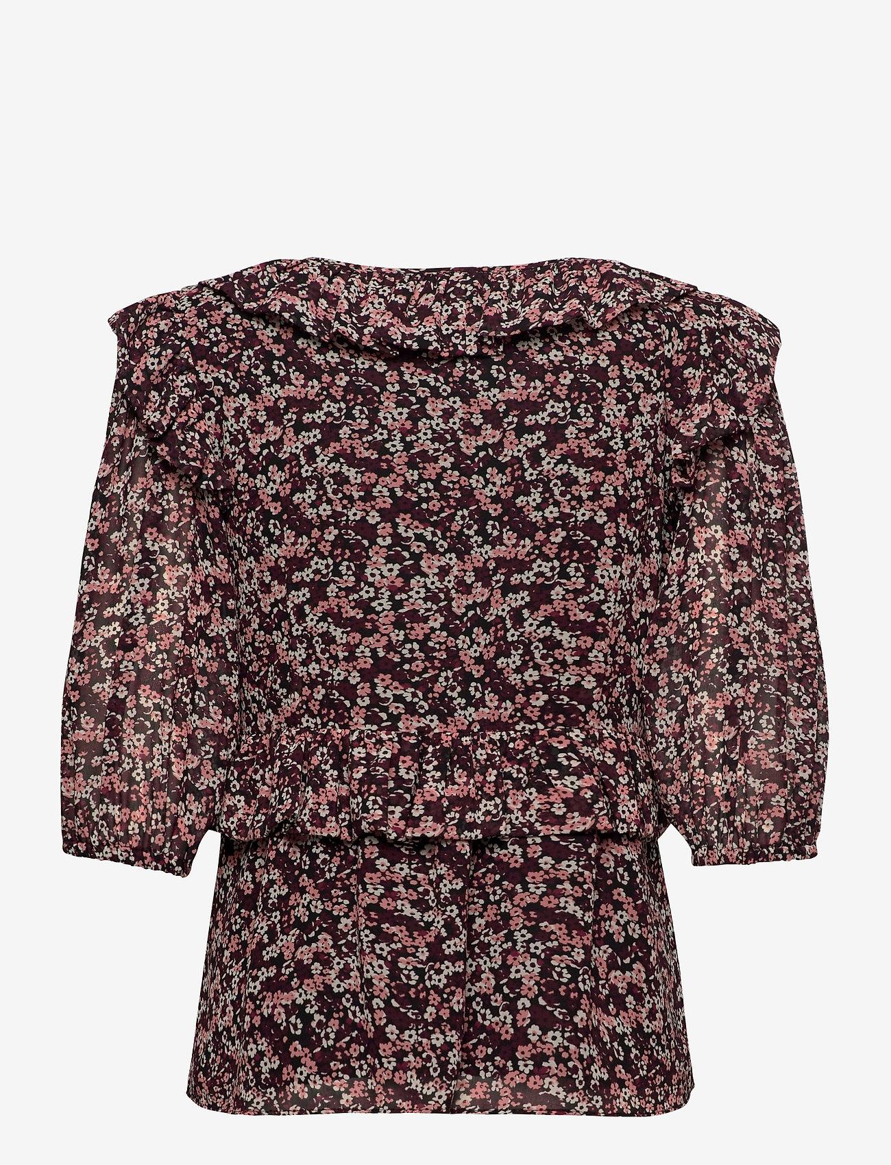 Michael Kors - DAINTY BLM TOP - blouses met lange mouwen - dark ruby - 1